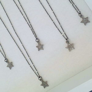 Pave Set Diamond Small Star Necklace