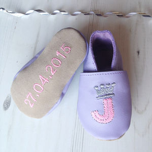 Personlalised Initial Princess Baby Shoes - babies' slippers