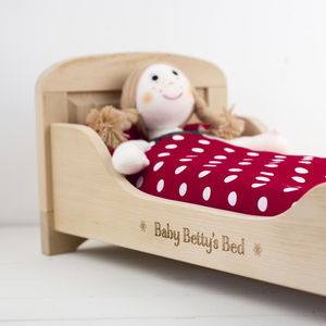 Personalised Wooden Doll's Bed - soft toys & dolls