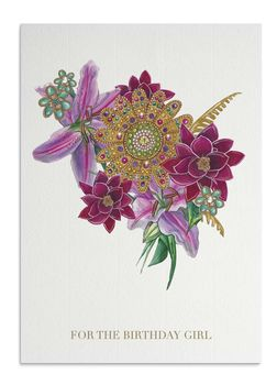 Tropical Jewelled Bouquet Birthday Card