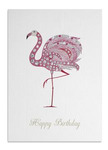 Crystal Flamingo Birthday Card - birthday cards