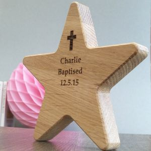 Personalised Baptism Star Oak Keepsake With Cross - more