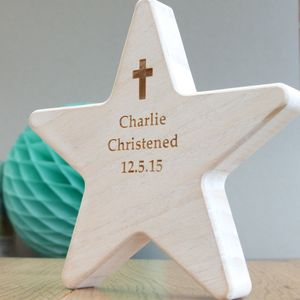 Personalised Christening Wooden Star With Cross - home accessories