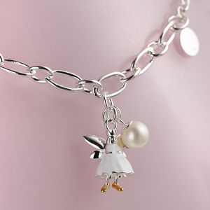 Childs White Fairy Wish Silver Charm Bracelet - children's accessories