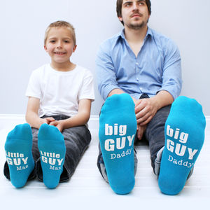 Personalised Big And Little Guy Sock Set - for dad & me