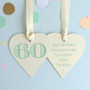 60th Birthday Keepsake Heart Card