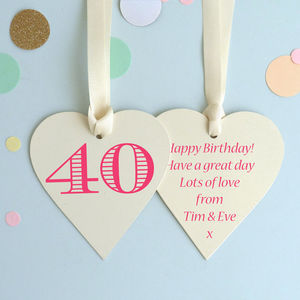 40th Birthday Keepsake Heart Card