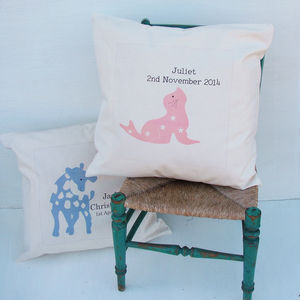 Child's Personalised Animal Print Cushion
