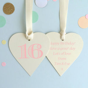 16th Birthday Keepsake Heart Card - birthday cards