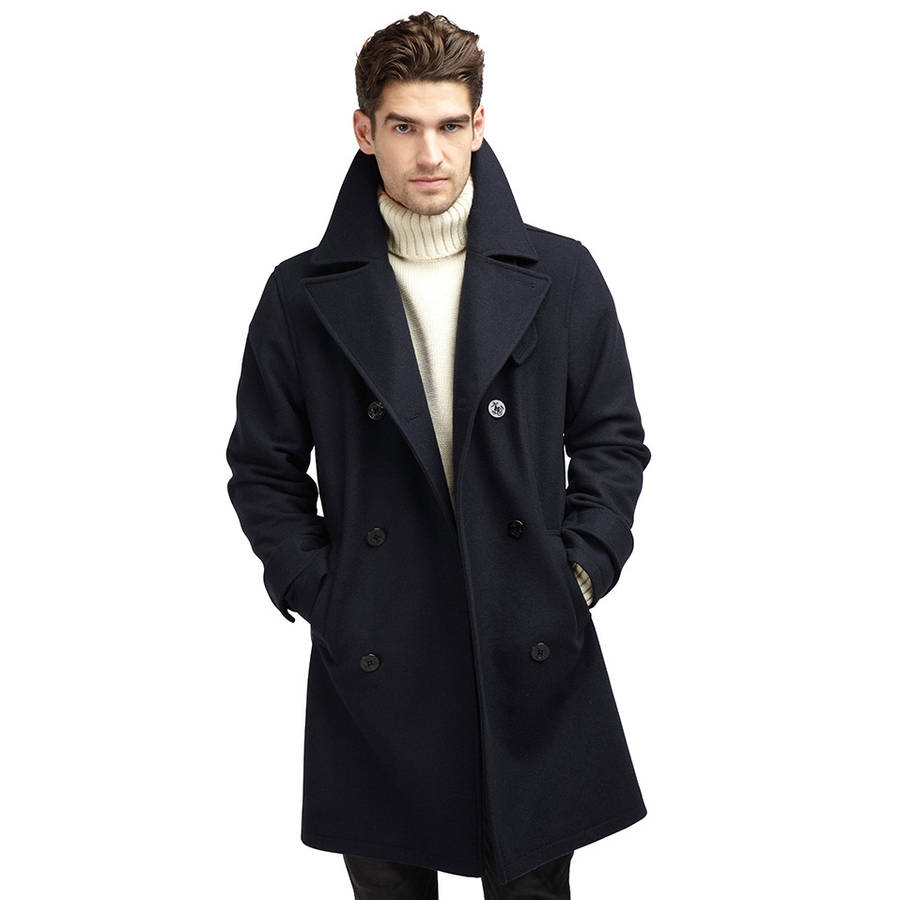 Mens Pea Coat Leather Sleeves this peacoat is only available in sizes Small, Medium Stylish fashion 2-tone/fabric Black long wool double breasted mens fashion pea coat with Lapel collar Color: black Leather Sleeves Collar: lapel Men - Length: mid-long length.