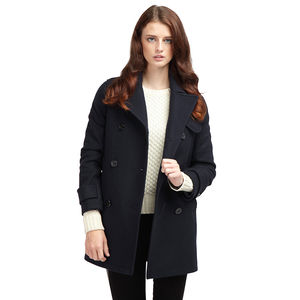 Women's Long Pea Coat - women's fashion