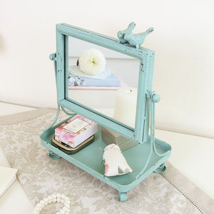 Distressed Duck Egg Bird Jewellery Tray With Mirror - home accessories