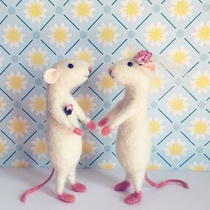 Miniature Mice Wedding Cake Toppers