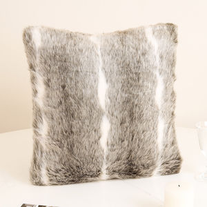 Luxurious Winter Snow Lynx Faux Fur Cushion - bedroom
