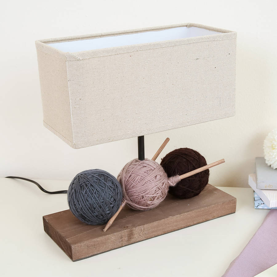 Balls Of Wool Rectangular Table Lamp With Shade By Dibor
