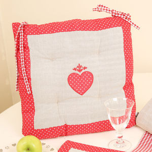 Polka Dot Heart Seat Pad Cushion