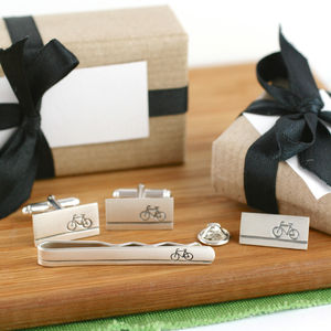 Silver Bike Cufflink And Tie Gift Set - collar studs & stiffeners