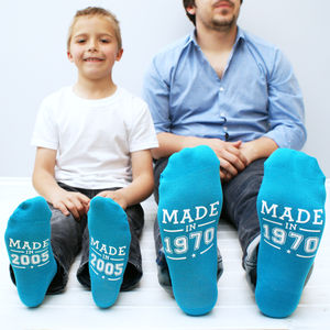 Personalised Year Of Birth Sock Set - children's dad & me sets