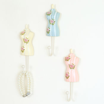 Set Of Three Vintage Style Mannequin Wall Hooks