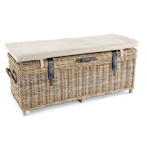 Washed Rattan Storage Bench - chests & blanket boxes