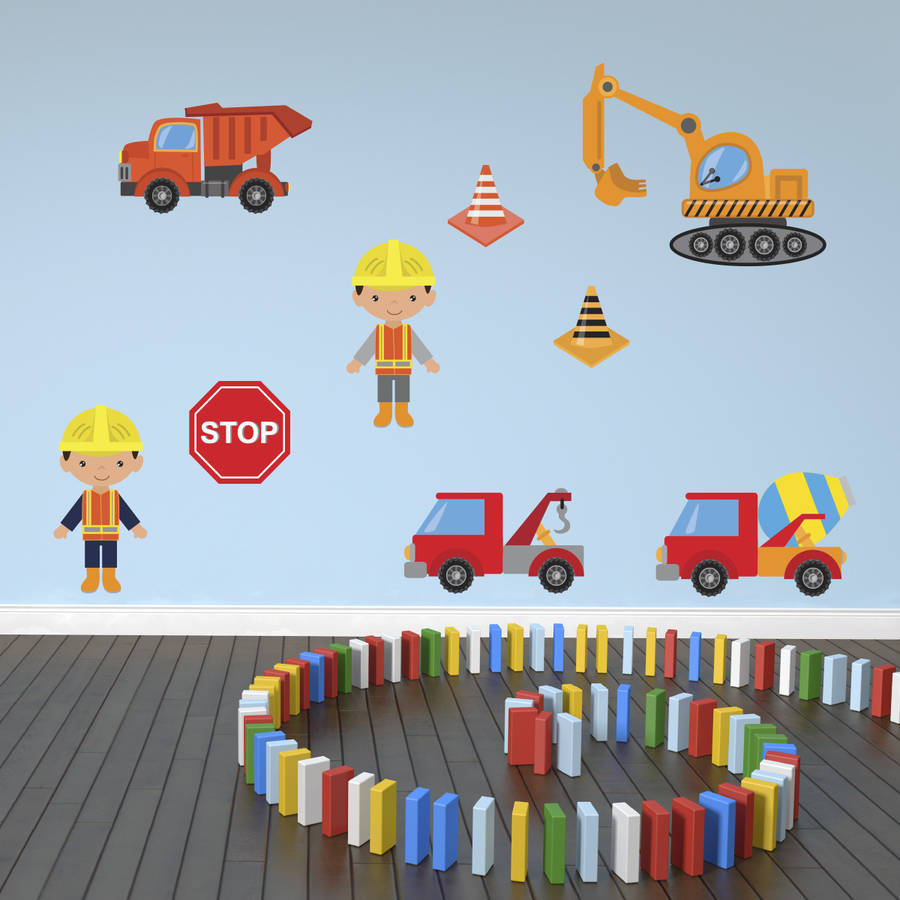 boys construction site wall stickers pack by mirrorin boys will be boys wall sticker by wall art