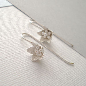 Silver Artisan Bluebell Flower Earrings