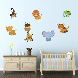 Friendly Jungle Animals Wall Stickers Pack - baby & child sale