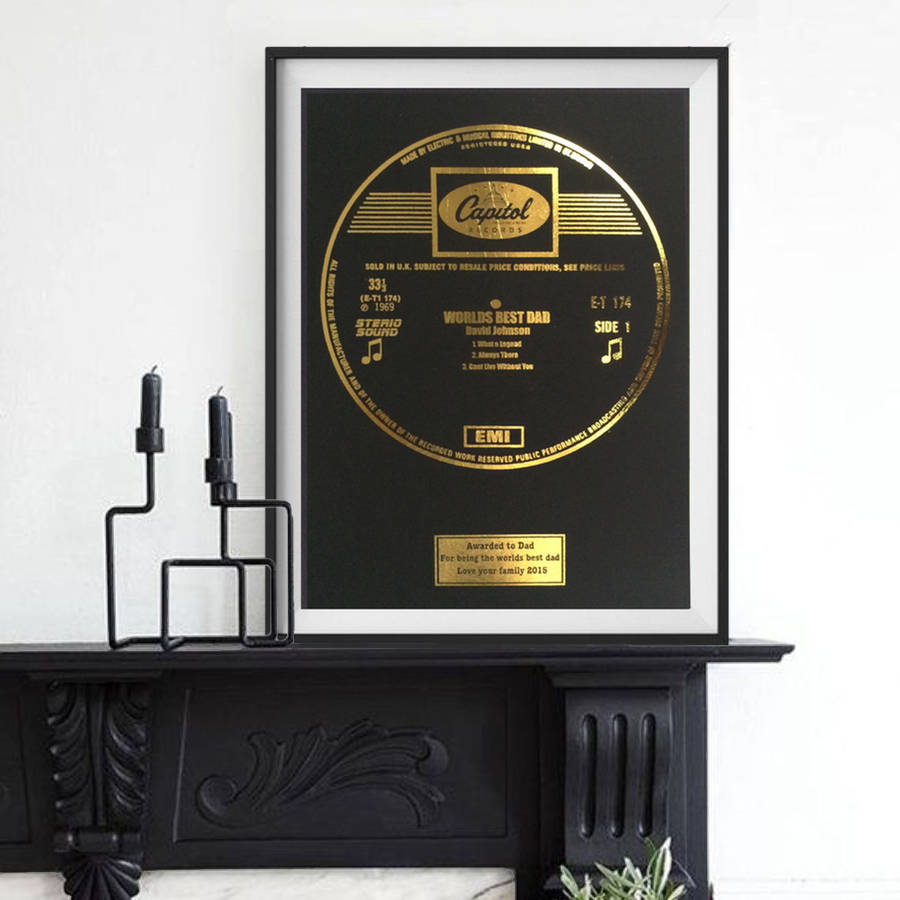 Personalised Framed Gold Leaf Record
