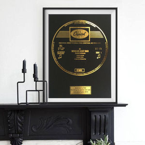Personalised Framed Gold Leaf Record - posters & prints