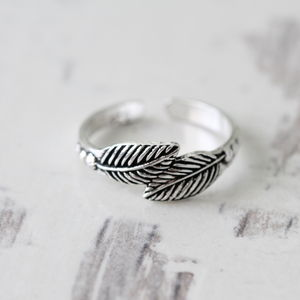 Sterling Silver Feather Little Finger Ring