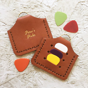 Tan Personalised Plectrum Holder Keyring - stocking fillers