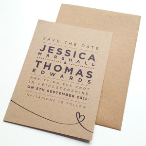 'Henley Rustic Kraft' Wedding Save The Date Cards