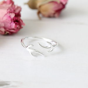 Sterling Silver Adjustable Antler Ring - women's jewellery sale