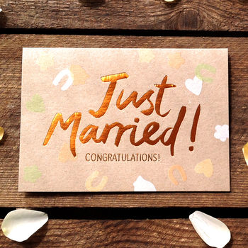 Just Married! Copper Congratulations Card