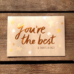 You're The Best! Copper Card - exam congratulations cards