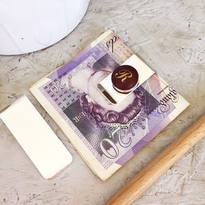 Personalised Silver Monogrammed Money Clip - wallets