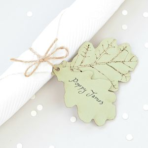 Woodland Leaf Place Card - rustic wedding