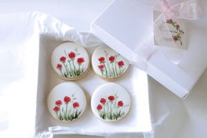 Painted Rose Anniversary Iced Biscuits - biscuits and cookies