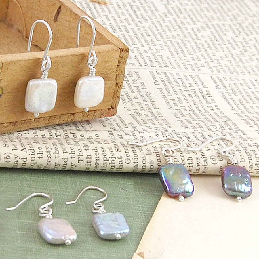 Square Pearl Earrings Best All Earring Photos Kamiliol