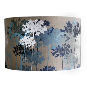 Floral Printed Linen Lampshade Blue And White - lighting