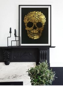 Flower Skull, Gold Framed Art Print - posters & prints