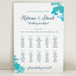 Aqua Blossom Wedding Table Seating Plan - table decorations