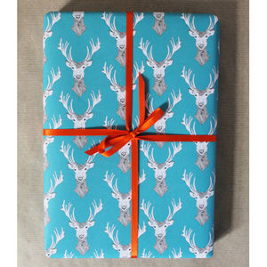 Stag Gift Wrap - ribbon & wrap