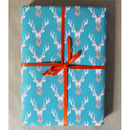 Luxury Blue Stag Gift Wrap