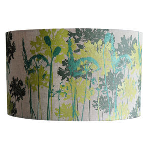 Floral Printed Linen Lampshade In Greens - lighting
