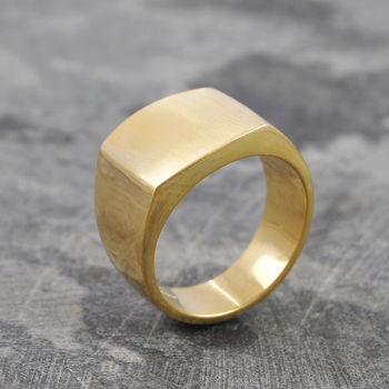 Men's Square Signet 18 K Gold Plated Silver Ring