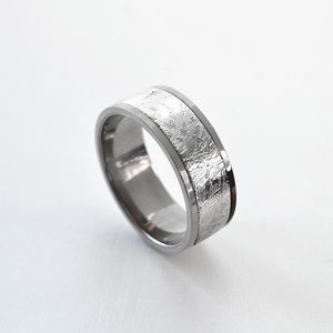 Meteorite Inlaid Titanium Ring - rings