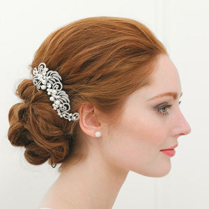 Large Pearl Filigree Hair Comb - wedding jewellery