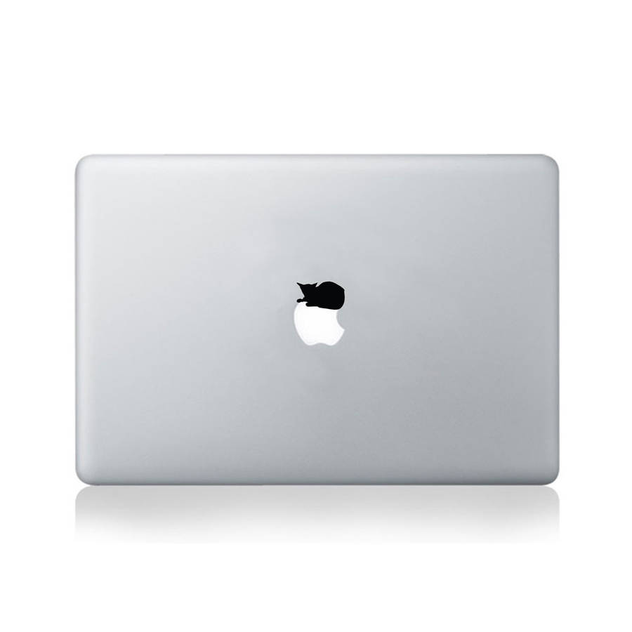 Cat Napping On Apple Vinyl Decal For Macbook 13/15