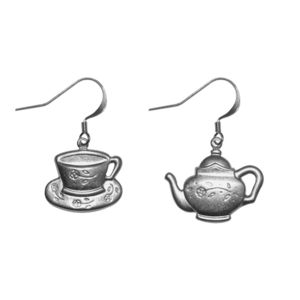 Teacup And Teapot Earrings Silver Plated - earrings